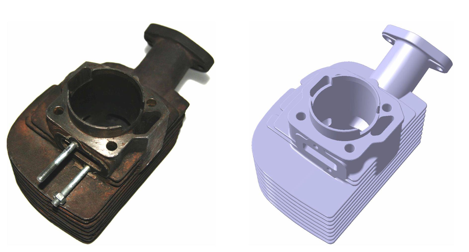 Widok przedstawiający miejsce montażu cylindra z korpusem